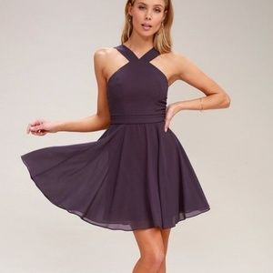 LULUS Forevermore Halter Dusty Purpl Skater Dress
